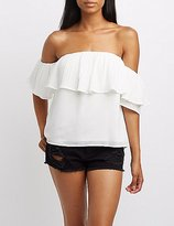 Charlotte Russe Micro Pleated Ruffle Off-The-Shoulder Top