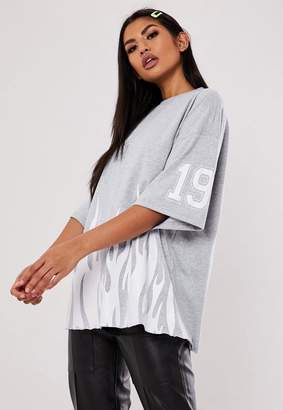 Missguided Jordan Lipscombe X Gray Oversized Flame T Shirt