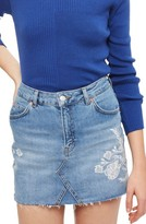 Topshop Women's Embroidered Denim Miniskirt