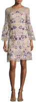 Marchesa 3/4-Sleeve Floral-Embroidered Illusion Dress, Nude/Purple