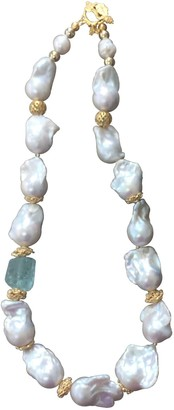Farra Nugget Baroque Freshwater Pearls With Green Fluorite Necklace