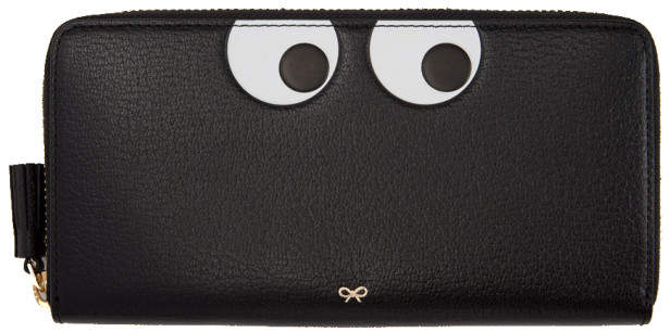 Anya Hindmarch Black Large Eyes Zip Around Wallet