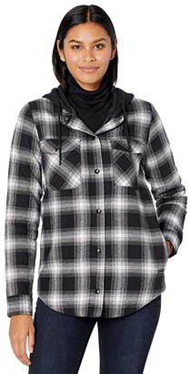 Volcom Snow Hooded Flannel Jacket (Black) Women's Clothing