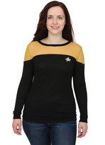 Mighty Fine Star Trek Juniors Sheer Yoke Gold Sweater - 2X