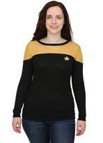 Mighty Fine Star Trek Juniors Sheer Yoke Gold Sweater - XL