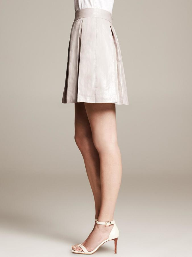 Banana Republic Silver Pleated Skirt