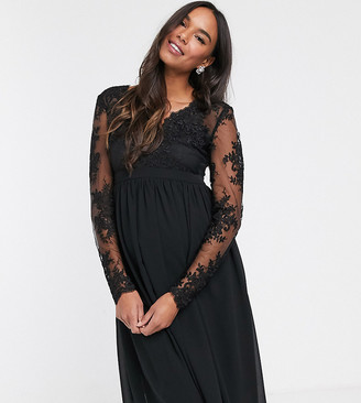 Chi Chi London Maternity lace midi dress with sheer sleeves in black