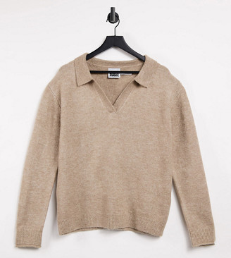 Reclaimed Vintage inspired unisex knitted pullover with collar in oatmeal