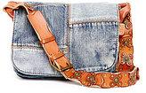 Patricia Nash Denim Patchwork Collection Rosa Saddle Bag