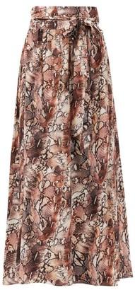 Melissa Odabash Elsa High-rise Snake-print Poplin Skirt - Brown Print