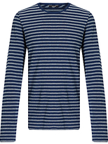 Denham Signature Crew Long Sleeve Stripe T-shirt, One Year Blue