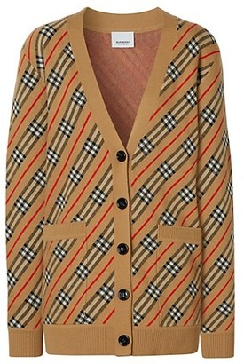Burberry Coralie Icon Stripe Merino Wool-Blend Cardigan