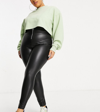 Yours faux leather leggings in black
