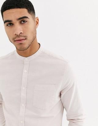 ASOS DESIGN skinny fit oxford shirt in light pink with grandad collar