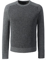 Lands' End Men's Lambswool Crew Sweater-Dark Washed Teal Heather