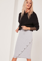 Missguided Grey Loopback Asymmetric Midi Skirt