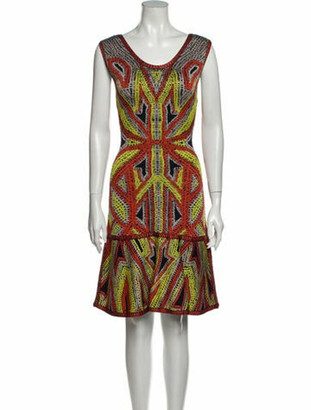 Herve Leger Danika Knee-Length Dress Orange