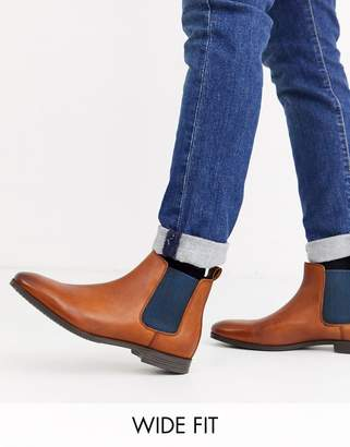 Dune wide fit formal chelsea boot in brown leather