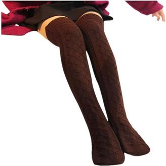 Toamen Women Girls Knitted Wool Socks Women's Cable Knit Over knee Long Boot Winter Warm Thigh-High Soft Socks Leggings Soft Bed Floor Socks