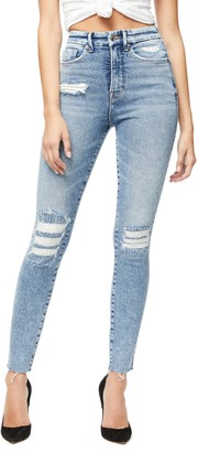 Good American Good Curve High Waist Raw Hem Ankle Skinny Jeans