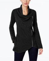 INC International Concepts Draped Zipper Cardigan, Only at Macy's