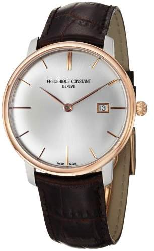 Frederique Constant Men's 'Slim Line' Swiss Automatic Stainless Steel and Leather Casual Watch