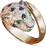 Effy Signature Black and White Diamond (1-1/3 ct. t.w.) and Emerald Accent Panther Ring in 14k Rose Gold