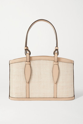 Hunting Season Basket Small Leather-trimmed Raffia Tote