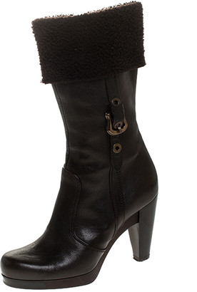 Fendi Brown Leather And Wool Mid Calf Block Heel Platform Boots Size 37
