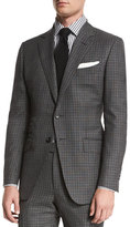 Tom Ford O'Connor Base Bicolor Gingham Two-Piece Suit, Black/Gray