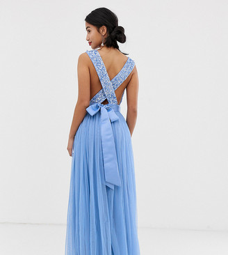 Maya Petite delicate sequin bodice maxi dress with cross back bow detail in bluebell
