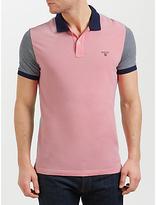 Gant Colour Block Oxford Polo Shirt, Bright Magenta/multi