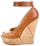 Lanvin Leather Peep-Toe Wedges