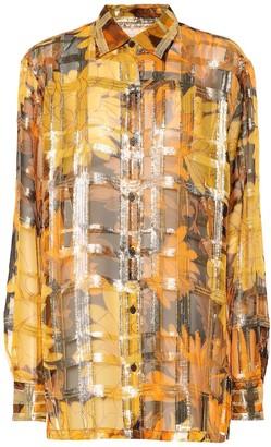 Dries Van Noten Metallic silk-blend shirt