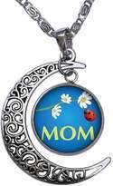GiftJewelryShop MOM daisy & coccinella Crescent Moon Galactic Universe Glass Cabochon Pendant Necklace