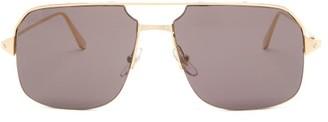 Cartier Eyewear - Bronze Aviator Metal Sunglasses - Mens - Grey