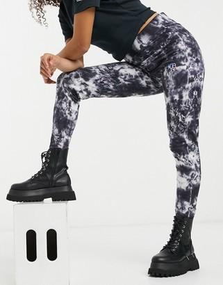 Russell Athletic tie-dye leggings in black