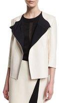 St. John Bonded Leather 3/4-Sleeve Jacket, Alabaster/Caviar