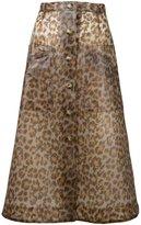 Christopher Kane leopard print midi skirt - women - Polyurethane - 40