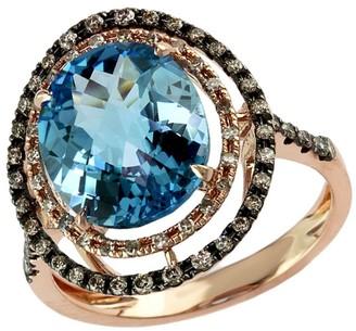 Effy 14K Rose Gold, Brown Diamond and Blue Topaz Ring
