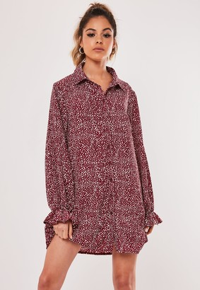 Missguided Burgundy Dalmatian Print Frill Cuff Shirt Dress