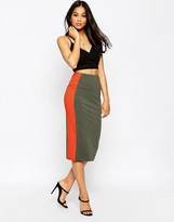 Asos Side Stripe Pencil Skirt In Color Block