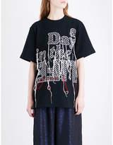 Sacai Embroidered cotton-jersey T-shirt