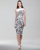 Carolina Herrera Baroque-Print Stretch Cotton Dress