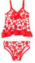 Pink Platinum Red & White Cherry Tankini - Infant
