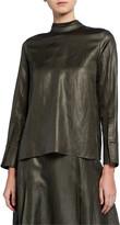 PARTOW Everett Shiny-Coated Linen Blouse