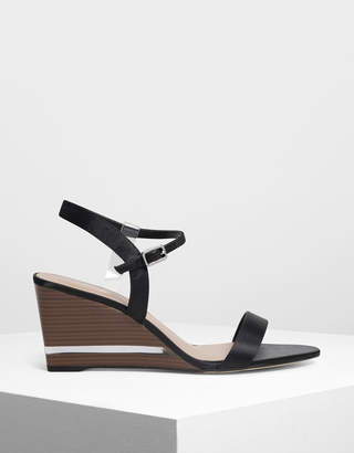 Charles & Keith Clear Strap Wooden Wedges