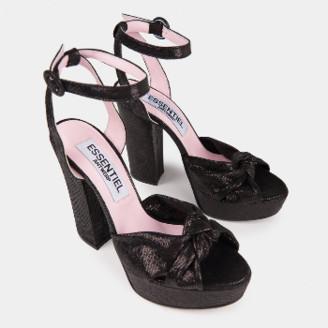 Essentiel Black Leather Platform Sandals - 37