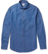 Brunello Cucinelli Slim-Fit Cutaway-Collar Cotton-Chambray Shirt