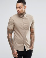 Asos Skinny Shirt In Stone With Short Sleeves